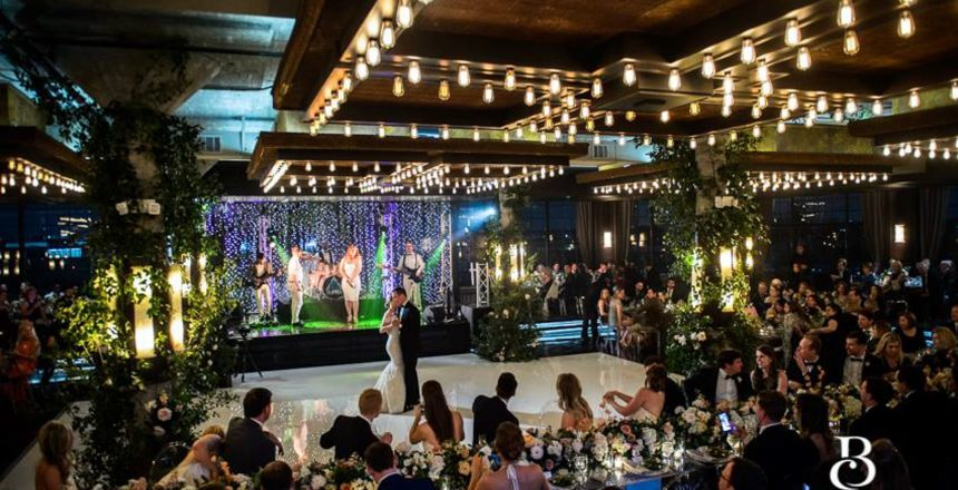Band at a wedding in houston performing